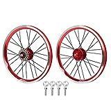 Ruote per bici da strada,set di ruote per bici da strada in lega di alluminio con freno a disco da 16 pollici e 6 chiodi,set di ruote per bici da corsa professionale,ruote per bici pieghevoli(rosso)
