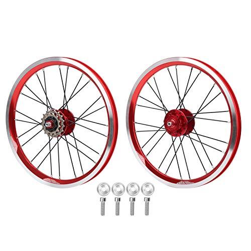 Juego de Ruedas para Bicicleta Plegable, Juego de Ruedas para Bicicleta, Plegable portátil liviano para Freno en V, Bicicleta de montaña, niños Adultos, Uso al Aire Libre(Red)