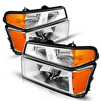 Colorado Headlight Assembly from Torchbeam,2004-2012 Chevy Colorado/Canyon/GMC Chrome Housing Amber Reflector Clear Lens,Passenger & Driver Side