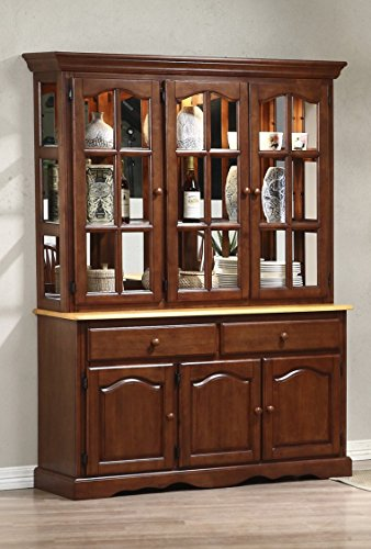 Sunset Trading Treasure Buffet and Lighted Hutch, Nutmeg/Light Oak