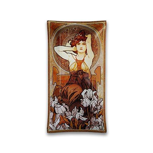 CARMANI - Plaque décorative Rectangle imprimé avec «Améthyste» par Alphonse Mucha 30x16cm