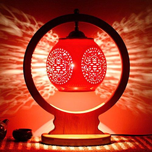 motes uvar Dormitorio con bombilla caliente retro–Mode regalo de boda real claro rojos de boda lámpara Nueva, bambú–Marco–redondas rojas cuadrado, Button Cambiar