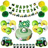 JOPARY Farm Green Tractor Themed Party Supplies John Deere Birthday Decorations With Happy Birthday Banner, Tractor Garland, Cupcake Toppers, and Balloons for Girls Boys Kids and Baby Shower