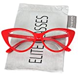Retro Sexy Women Eyeglasses Frame Fashion Cat Eye Clear Lens ladies Eye Glasses (Red, 2.25)