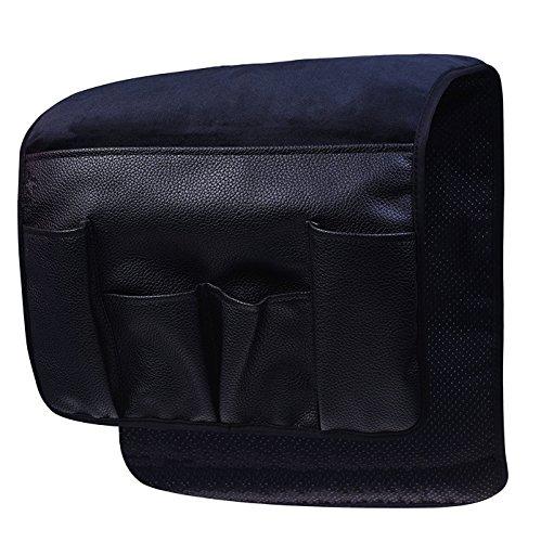 BASELIFE Organizador de reposabrazos, para sofá, silla, revistero, sobre sofá, sofá, reposabrazos reclinable para mando a distancia, teléfono móvil, libro, lápiz (negro).