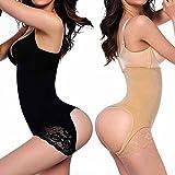 FLORATA donne Butt Lifter vita pantaloni Shaper pancia controllo culotte intima, Y558-b-m/l-uk-de-1, nero