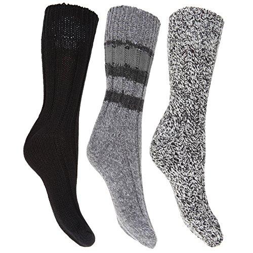 Floso Damen Thermo Winter-Socken, Wollgemisch, 3 Paar (37-41 EU) (Schwarz)