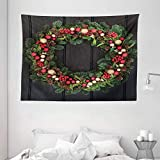 Ambesonne Christmas Tapestry, Christmas Wreath Design with Little Baubles Mistletoe Spruce Fir Dark Oak Image, Wide Wall Hanging for Bedroom Living Room Dorm, 80' X 60', Multicolor
