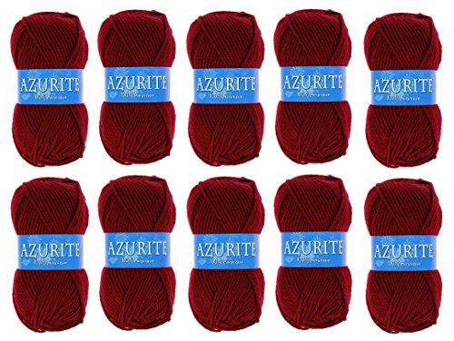 les colis noirs lcn Lot 10 Pelotes de Laine Azurite 100% Acrylique Tricot Crochet Tricoter - Rouge - 3025