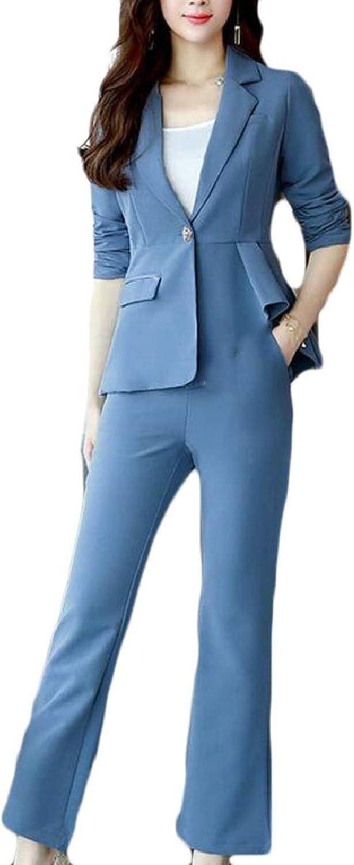 ZXFHZSCA Women's Slim Business Two Piece Office Lady Suit Set Work Blazer Pant