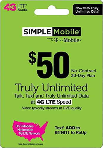 Simple Mobile SIM Card + Unlimited Everything $50 1st Month Plan + Unlimited 4G LTE Data