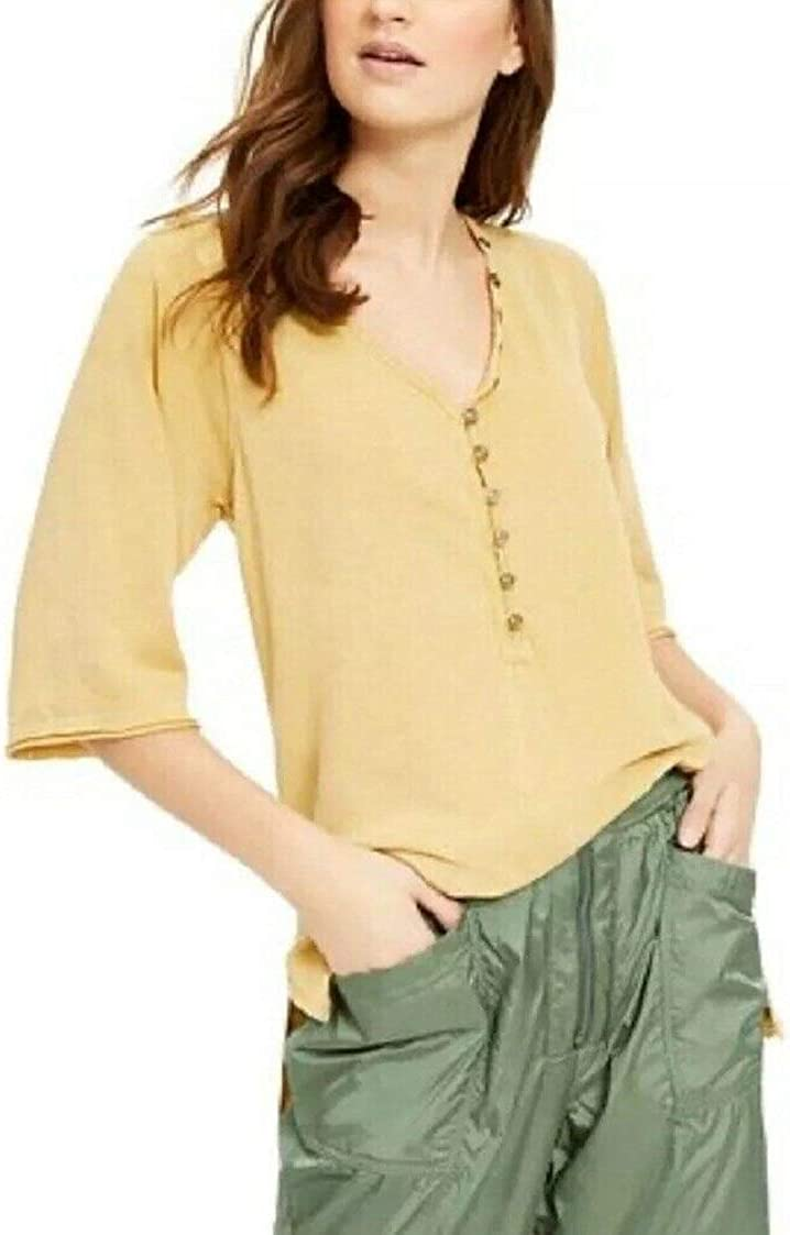 Free People Women's Morgan Henley Button Shirt Top Alchemy Green Sz S