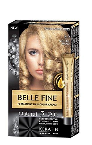 BELLE'FINE® - Coloration crème pour cheveux Black Series - luxueux - coloration naturelle/permanente - 3 huiles/kératine - BLOND NATUREL
