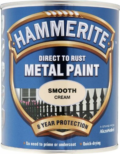 Hammerite Direct to Rust Metal Paint - Smooth Cream Finish 750ML