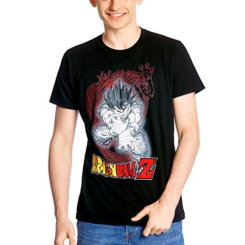 Elbenwald Camiseta de Hombre de Dragon Ball Son Goku Kamehameha algodón Negro - XL