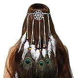 LIUXING-Home Girl Decorating Headwear Dreamcatcher Tocado étnico Hippie Pluma Tocado Tocado Accesorios for el Cabello de Las Mujeres Feather Tassel Headband (Color : Multi-Colored, Size : One Size)