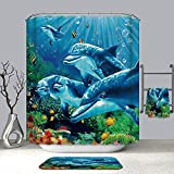 3D Underwater World Shower Curtain,Dolphin Colony Color Coral Waterproof Fabric Shower Curtain S/w 12 Hooks Watercolor Decorative Curtain Modern Bathroom Accessories Shower Custom 72 x 72 inch