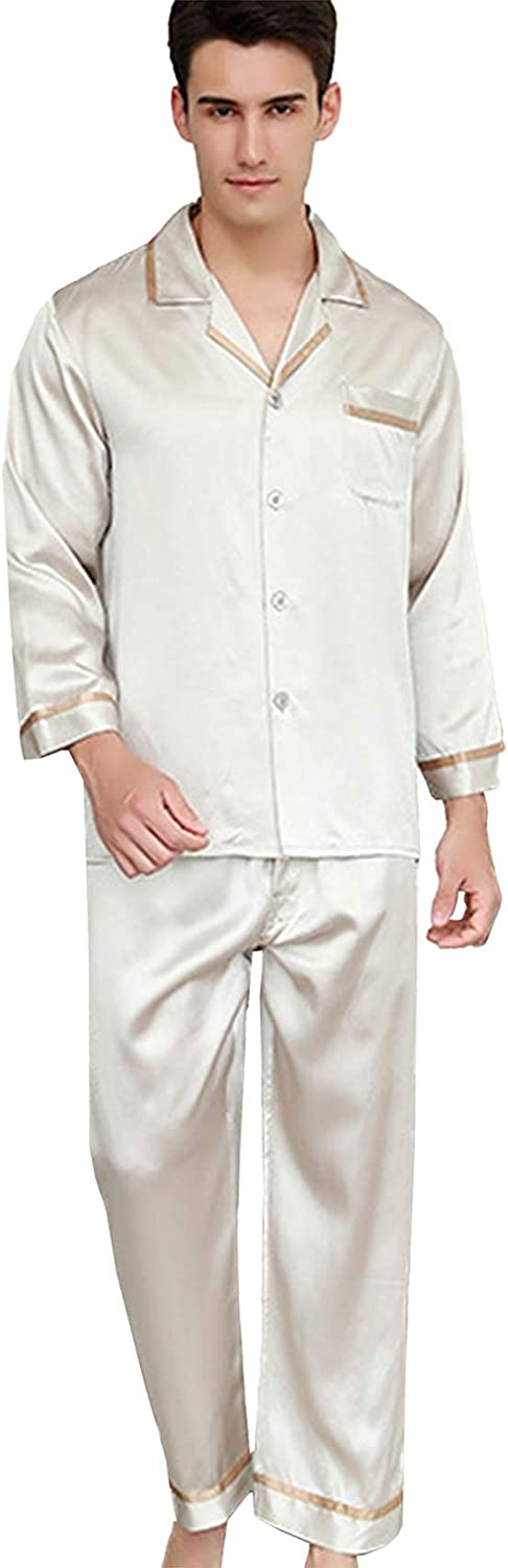 FMOGG Men's Pajamas Set 22 Mumi Heavy 100% Mulberry Silk Pajamas Men's Autumn Long-Sleeved Tops and Pants Sleepwear Comfortable Two-Piece Nightshirts Suit