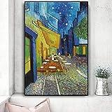 Danjiao Terraza De Café Por La Noche Reproducciones De Pintura Al Óleo Sobre Lienzo Carteles E Impresiones Cuadro De Arte De Pared Para Decoración De Sala De Estar Sala De Estar Decor 40x60cm
