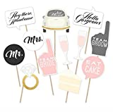 Wedding Party Photo Booth Props Kit, Toshine DIY Photo Booth for Wedding Bridal Shower Party Favor Supplies Pose Sign Dress Up Fun Accessories (12 Pcs)