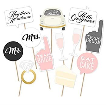 Wedding Party Photo Booth Props Kit Toshine DIY Photo Booth for Wedding Bridal Shower Party Favor Supplies Pose Sign Dress Up Fun Accessories  12 Pcs