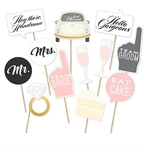 Wedding Party Photo Booth Props Kit  Toshine DIY Photo Booth for Wedding Bridal Shower Party Favor Supplies Pose Sign Dress Up Fun Accessories (12 Pcs)