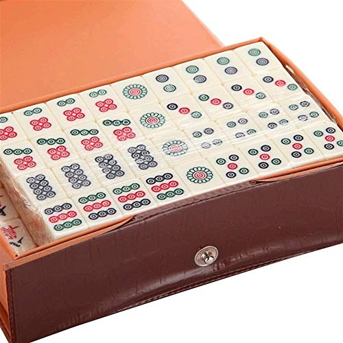 Big Shark Mahjong-Set, Retro chinesischer Stil, feines Acrylmaterial mit Leder-Box, geeignet for Freunde Unterhaltung