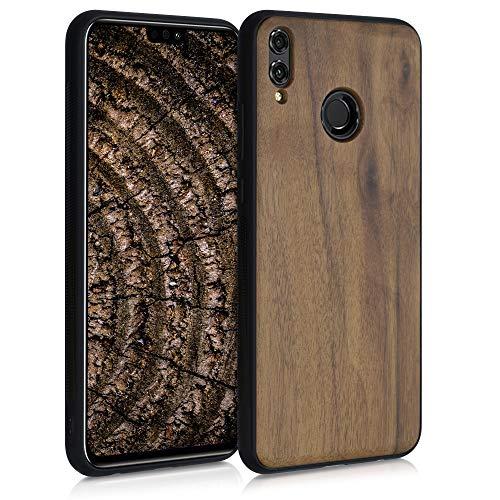 kwmobile Bumper Schutzhülle kompatibel mit Honor 8X - Holz Hülle Handy Case Cover Dunkelbraun