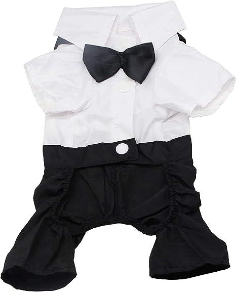 QiCheng & LYS Ropa Perro XL,Traje Elegante con Estilo de Corbata de moño, Camisa de Esmoquin Formal con Traje de Corbata Negra (XL)