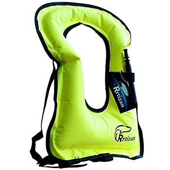 Rrtizan Snorkel Vest Adults Portable Inflatable Swim Vest Jackets for Snorkeling Swimming Diving Safety Green