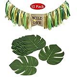 Amycute 13 piezas de decoración de cumpleaños Wild One con pancarta de trona y hojas tropicales artificiales para decoración de temática hawaiana Luau Jungle Beach