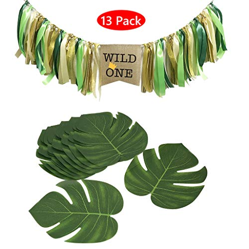 Amycute 13 Stück Wild One Geburtstag Dekorationen mit Hochstuhl Banner und Tropische Blätter Künstlich für Hawaiian Luau Jungle Beach Theme Dekorationen.