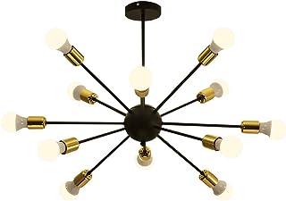 Dellemade Sputnik - Lámpara de araña, 12 luces, estilo vintage, para comedor, salón, cocina, oficina, cafetería, restaurante, color negro