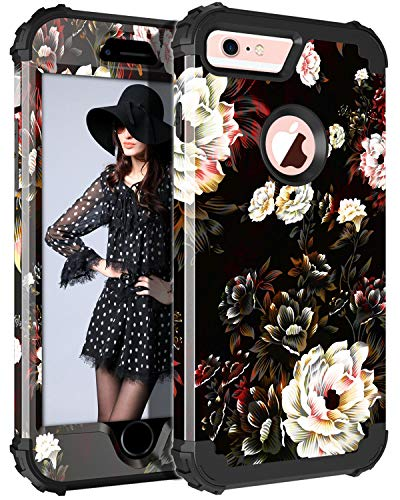 Pandawell Compatible iPhone 6s Plus Case 6 Plus Case Floral 3 in 1 Heavy Duty Hybrid High Impact Shockproof Protective Cover Case for Apple iPhone 6 Plus/6s Plus, Flower/Black
