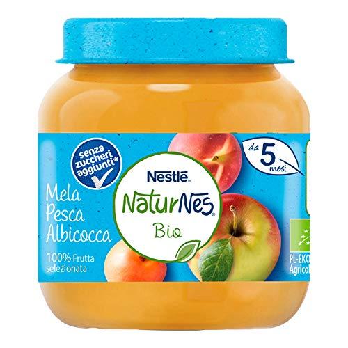 Nestlé Naturnes Omogeneizzato di Frutta Mela Pesca e Albicocca da 5 Mesi, 12 Vasetti da 125 g