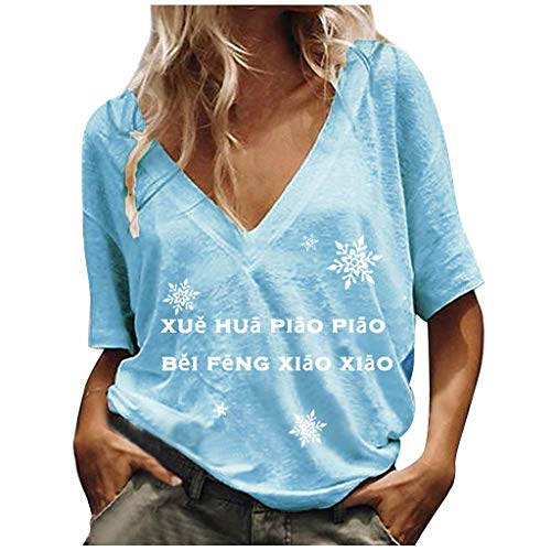 Check Out This Dosoop Summer Women V Neck T-Shirt Casual Loose Solid Color Short Sleeve Top Fashion Letter Print Graphic Tee Blouse Tunic