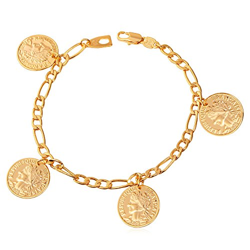 U7 18K Stamp Figaro Chain Queen Coin Charm Gold Plated Link Bracelet