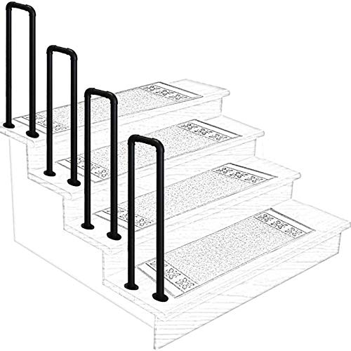 Matte Black Wrought Iron Handrail Galvanized Pipe Stair Railing, Arch Non-Slip Corridor Support Bar, Can Be Used in Porch Garden, Size Optional (Size : 65cm)