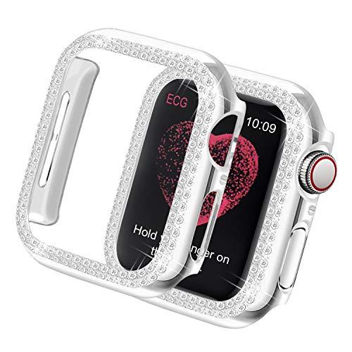 Yolovie Kompatibel für Apple Watch Hülle 44mm Series 6 SE 5 4, Harter PC Bling Gehäuse mit glitzernden Strass-Steinen in Diamant Gestell Schutzhülle Stoßstange Frauen für iWatch (Boppelt Silber)