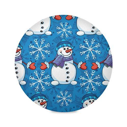 QMIN Juego de 1 manteles individuales redondos, diseño de muñeco de nieve de invierno, resistentes al calor, antideslizantes, lavables para mesa de comedor, cocina, decoración del hogar