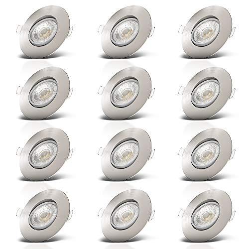 B.K.Licht I 12er Set LED Einbauleuchten I Schwenkbar I Ultra Flach 24mm I Ø90mm I Matt-Nickel I 12 x 5W LED Platinen I 12 x 460 Lumen I 3.000K Warmweiß I IP23 I Einbaustrahler
