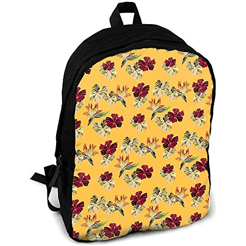 Unisex,Freizeitrucksack,Umhängetasche,Reisetasche,Schultasche Hawaiian Plants Multipurpose,Pack College,Outdoor,Rucksack,Laptoptasche,individuelles Geschenk für Kinder/Erwachsene