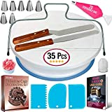 35PCs Cake Turntable and Leveler-Rotating Cake Stand with Non slip pad-7 Icing Tips and 20 Bags-...