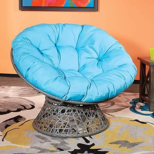 Cojín de silla suave y grueso, universal redondo con lazos, cojín de asiento de huevo al aire libre, cojín de silla colgante de gran tamaño, 100 x 100 cm