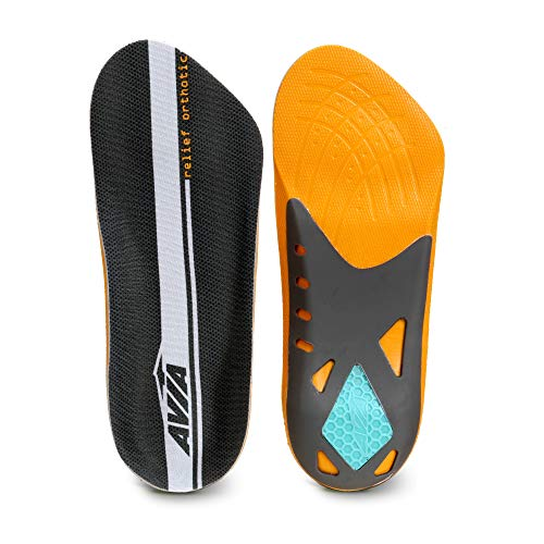 Avia 3/4 Length Plantar Fasciitis Orthotic All-Day Relief Shoe Insoles (Men's 8-12) Memory Foam – Designed to Relieve Heel Pain - All Day Comfort and Arch Support, Multi-Colored