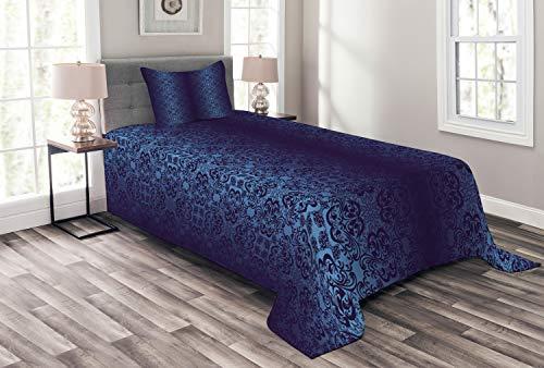 ABAKUHAUS Königsblau Tagesdecke Set, Barockes Damast-Motiv, Set mit Kissenbezügen Sommerdecke, für Einselbetten 170 x 220 cm, Dunkelblau