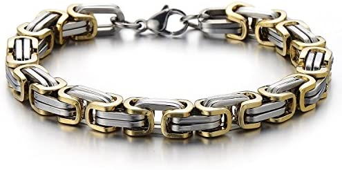 Masculine Style Stainless Steel Braid Link Bracelet for Men Silver Color Polished