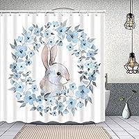 シャワーカーテン花の花輪イラストカントリースタイルのバニーウサギの肖像画 防水 目隠し 速乾 高級 ポリエステル生地 遮像 浴室 バスカーテン お風呂カーテン 間仕切りリング付のシャワーカーテン 150 x 180cm