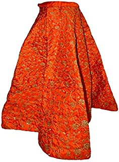 FEMEZONE Women's Brocade Silk Ethnic Traditional Lehenga/Skirt (FEM20191801-03; Orange; Free Size)
