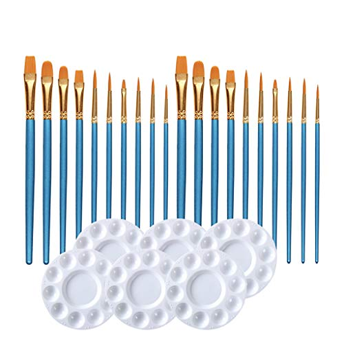Stationery,20 Pcs Paint Pallet Brushes with 6 Pcs Paint Trays for Kids and Adults to Painting or Have a Birthday Painting Party